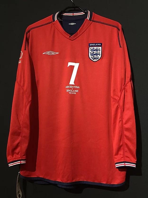 ベッカムの2002年イングランド代表ユニフォーム前面