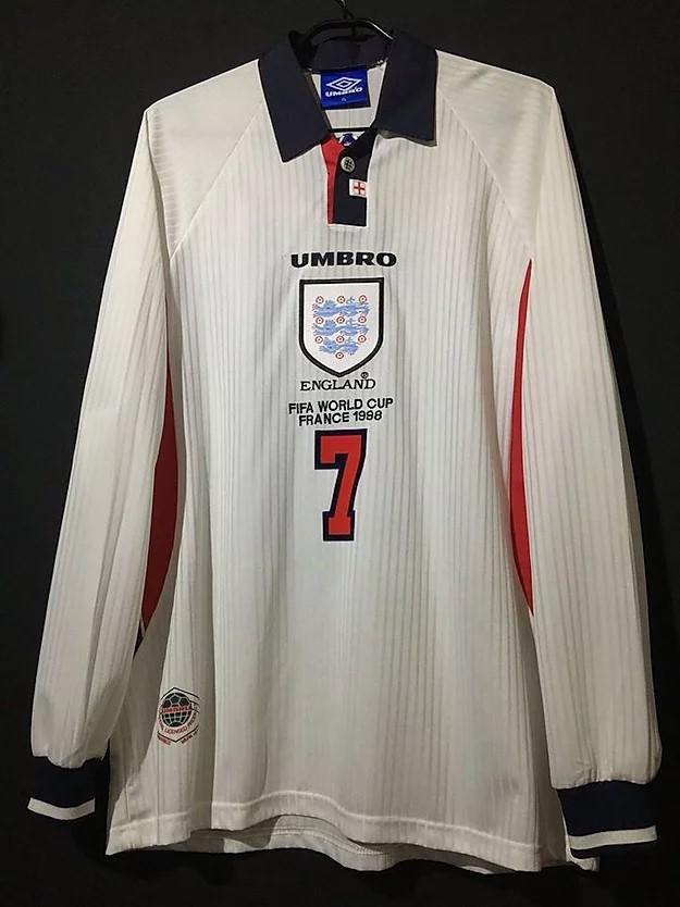 ベッカムの1998年イングランド代表ユニフォーム前面