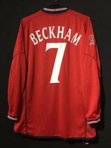 ベッカムの2002年イングランド代表ユニフォーム背面