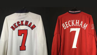 ベッカムの98年02年イングランド代表ユニフォーム