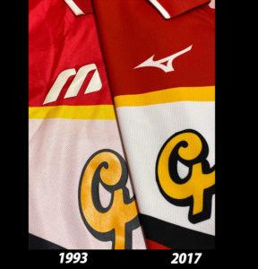 1993年と2017年名古屋グランパスクラブ創立25周年記念復刻ユニフォームのミズノ社ロゴ比較